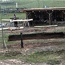 Bau des Grubenhauses in Reinheim (Foto: Webkamera Europäischer Kulturpark)