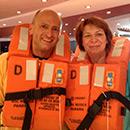 SR 1 Hörer Bettina und Thomas Folz bei der Seenot-Rettungsübung