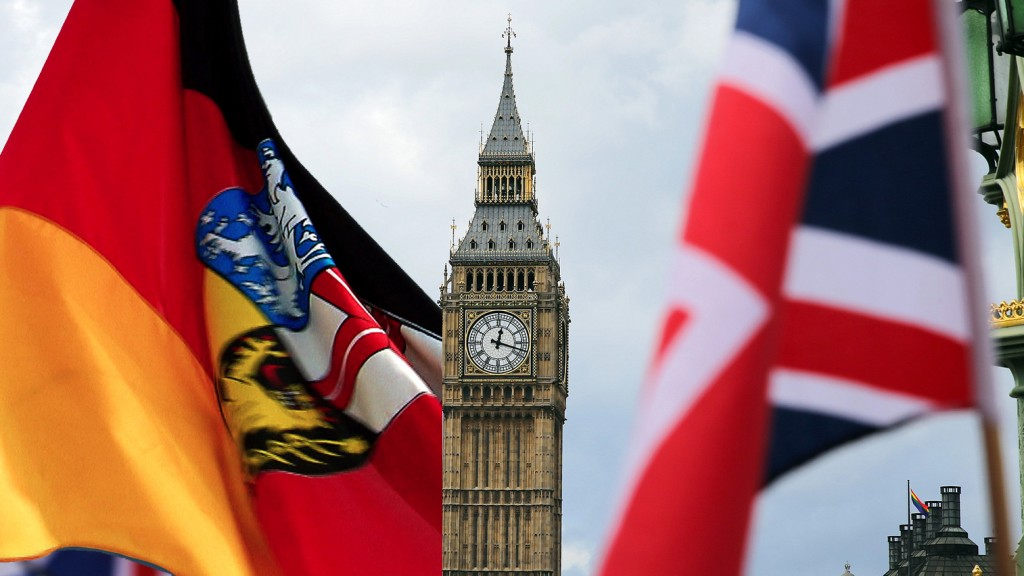 Collage: Saarlandfahne, Tower of Big Ben, Union Jack (dpa/SR)
