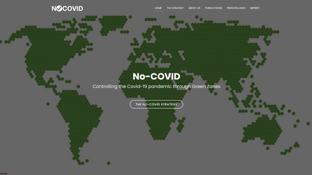 Screenshot der Homepage der Initiative NoCovid